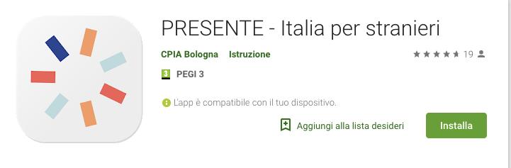 Applicazione per imparare l'italiano - PRESENTE Italia per stranieri